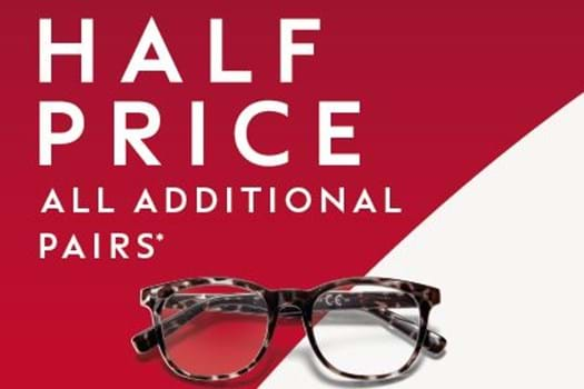 HALF PRICE ON ADDITIONAL PAIRS OF GLASSES AT BOOTS OPTICIANS